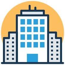 Adjoining Blocks, Hotel Building Vector Illustration