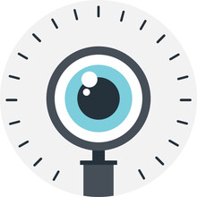 Eye In Magnification, Flat Vector Icon