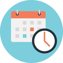 Calendar With Clock. Vector Concept Of Timing, Deadline, Schedule And  Appointment