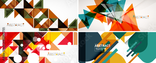 Fototapeta Set of geometric minimalist abstract backgrounds. Vector illustration for covers, banners, flyers and posters and other designs obraz