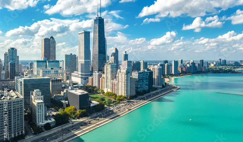 Chicago skyline aerial drone view from above, city of Chicago downtown skyscrapers and lake Michigan cityscape, Illinois, USA  - fototapety na wymiar