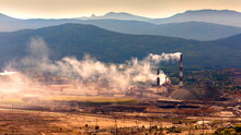 """Enterprise """"Karabashmed"""" Smokes And Pollutes The Environment In The City Of Karabash, Chelyabinsk Region, Russia"""