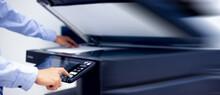 Bussiness Man Hand Press Button On Panel Of Printer, Printer Scanner Laser In Office Copy Machine Supplies Start Concept.