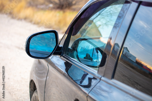 Obraz Mirror on the car in the morning. Background - fototapety do salonu