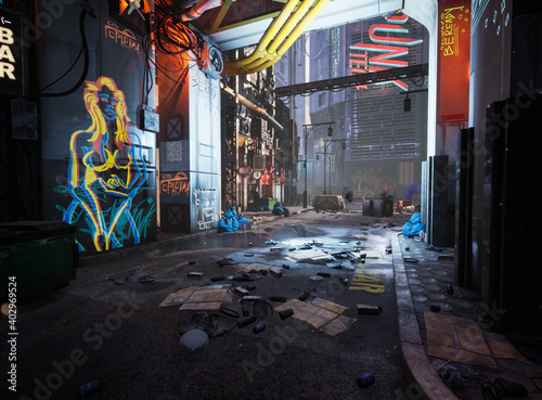 Canvas Print A 3D rendered cyber punk urban scene with neon signs and dirty a dirty alley