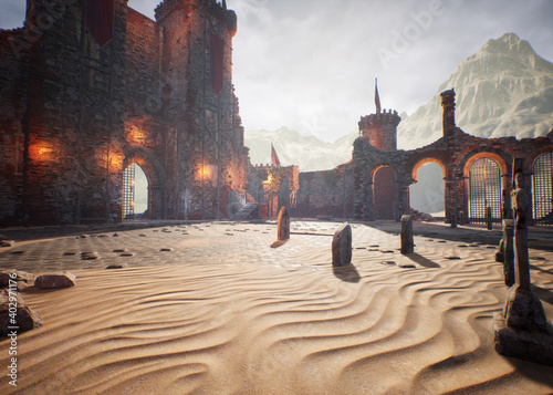 A 3D rendered scene from a castle's ruins with majestic arches and walls made of stone.