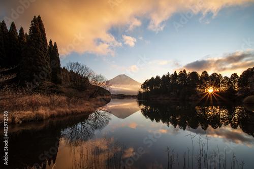 Canvas Print 冬の夜明けの田貫湖と富士山 1月