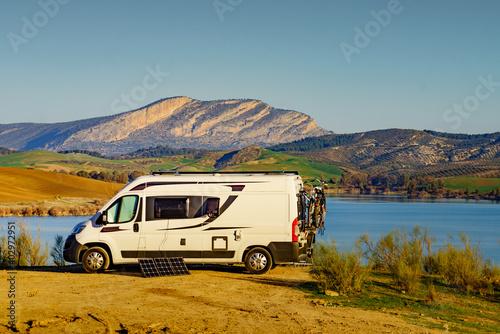 Caravan on nature, Guadalhorce in Andalusia Spain Fototapet