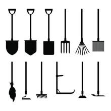 Vector Illustration Of Garden Tools Silhouettes Set