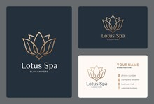 Elegant Lotus Logo Design With Business Card For Spa, Beauty Salon, Wellness, Meditation, Massage.
