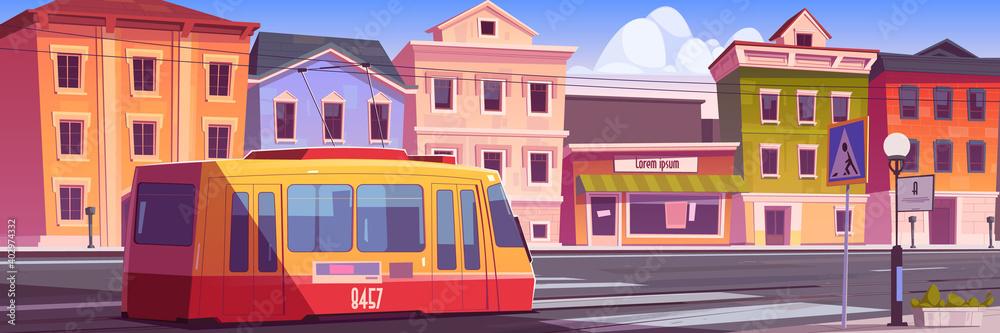 Fototapeta Tram riding on retro city street. Trolley car on vintage cityscape background, road with rails, antique buildings, lantern, pedestrian crosswalk. Cartoon vector urban commuter, tramway railway track