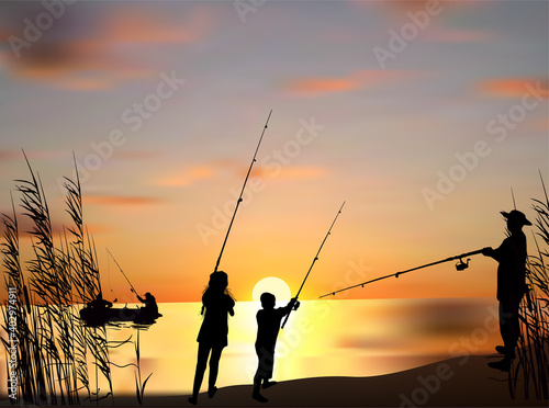 Fotografiet five fishermen silhouettes at orange sunset