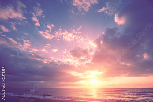 Fototapeta Seascape in the early morning. Sunrise over the sea. Nature landscape obraz