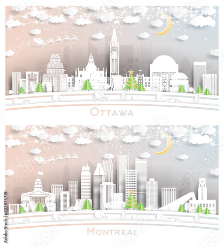 Montreal and Ottawa Canada City Skyline Set.