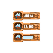 Set Of Wooden Game Ui Axe Fighting Power Ups Skill With Numeric And Load Bar Additional Panel For Gui Asset Elements Vector Illustration