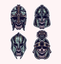 Set Of Skull Wearing Helmet, Hand Drawn Line Style With Digital Color, Vector Illustration