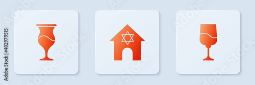 Fotografie, Tablou Set Jewish synagogue, goblet and . White square button. Vector.