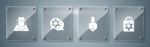 Set Shopping Bag With Star Of David, Hanukkah Dreidel, Star David And Orthodox Jewish Hat. Square Glass Panels. Vector.