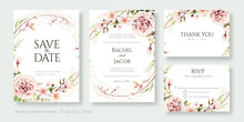 Wedding Invitation, Save The Date, Thank You, Rsvp Card Design Template. Vector. Juliet Rose And Cherry Blossom Flowers.