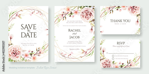 Fotografiet Wedding Invitation, save the date, thank you, rsvp card Design template