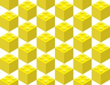 Yellow Elements From The Children's Constructor Assembled In A Seamless Pattern. Pop Art Style Vector Illustration