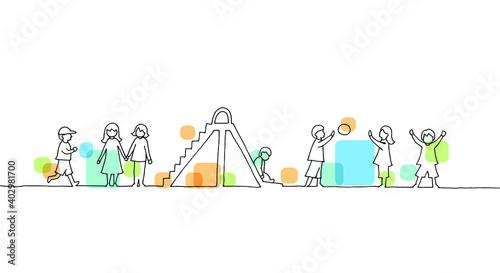 Fototapeta 遊ぶ子どもたちの線画イラスト