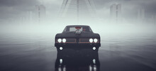 Black Powerful Sci-Fi Devil Car Driving Fast Over Wet Surface With Abandoned Brutalist Architecture Buildings In The Distance 3d Illustration Render