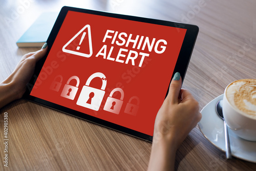 Fotografia Fishing alert, Fraud, Virus, Cyber security breath detection banner on screen