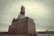 A Majestic View Of The Antique Statue Of The Sphinx On The Embankment In St. Petersburg