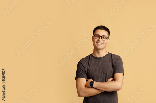 Obraz Pensive attractive student or blogger thinking about solution or ad - fototapety do salonu
