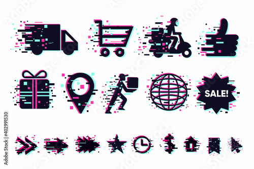 Delivery icons set. Shipping service vector signs collection. Glitch style clip art. GUI elements for mobile app.