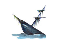 A Sunken Pirate Ship At The Bottom Of The Ocean Isolated On A White Background. Hand-drawn Watercolor Illustration