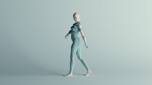 Futuristic Walking Female Character In Turquoise 3d Illustration Render