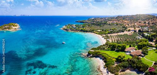 Obraz Panoramic aerial view of the coast around the beautiful beach of Kounoupi, close to the town of Porto Cheli, Peloponnese, Greece - fototapety do salonu