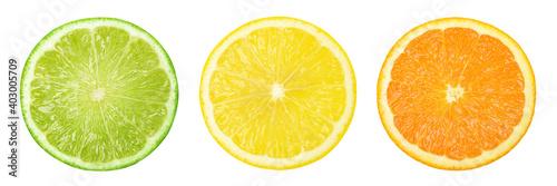 Collection lime,lemon and orange slices isolated on white background,Citrus fruit, juicy - fototapety na wymiar
