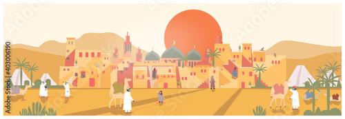 Obraz na plátně Landscape Vector illustration of mud brick oasis village in the desert during Covid-19 pandemic
