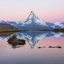 Matterhorn Mountain Before Sunrise With Reflection In The Riffelsee Lake - Zermatt In Switzerland
