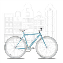 Illustration Of A Blue Bike In Flat Style Against A Black And White European City Background In Line Art And Style. Can Be Used For Web Design, Printing, Banner, Brochure, Booklet.