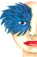 Watercolor Hand Drawn Girl In Vintage Carnival Blue Mask And Feather Decoration.