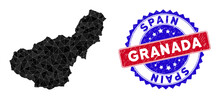 Granada Province Map Polygonal Mesh With Filled Triangles, And Textured Bicolor Stamp. Triangle Mosaic Granada Province Map With Mesh Vector Model, Triangles Have Variable Sizes, And Positions,