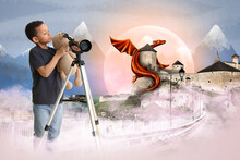 Little African-American Boy With Telescope Near Old Fortress And Fairy Dragon In Wonderland