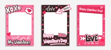 Printable Valentine's Day Photo Frames With Pink Hearts, Xoxo Inscription, Love Hashtag And Quotes. Will You Be My Valentine Template. Happy Valentine's Day Photo Booth Prop. Vector Illustration