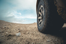 4wd Offroad Car Crossing In The Desert Road Trip