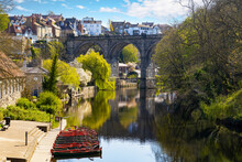 Railway Bridge And River Nidd In Knaresborough, Yorkshire, England