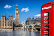 canvas print picture - London symbols with BIG BEN, DOUBLE DECKER BUSES and Red Phone Booth in England, UK