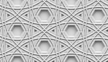 Architectural Seamless Pattern Of Gray Color On A Gray Background. Hexagons And Triangles In The Form Of Holes. High-quality 3d Illustration.