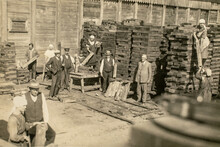 RUSSIA - CIRCA 1920s: Vintage Archive Photo Of Business Owners Managers And Workers In Rail Sleepers Factory. Sawmill