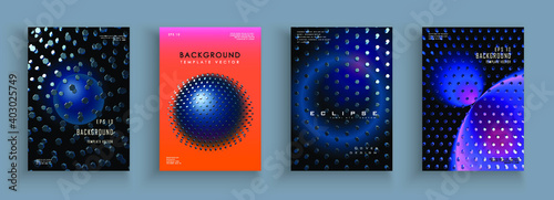 Fototapeta Cover templates with abstract hexagons. 3d space composition. Cover set for placards, banners, flyers, presentations and reports. obraz