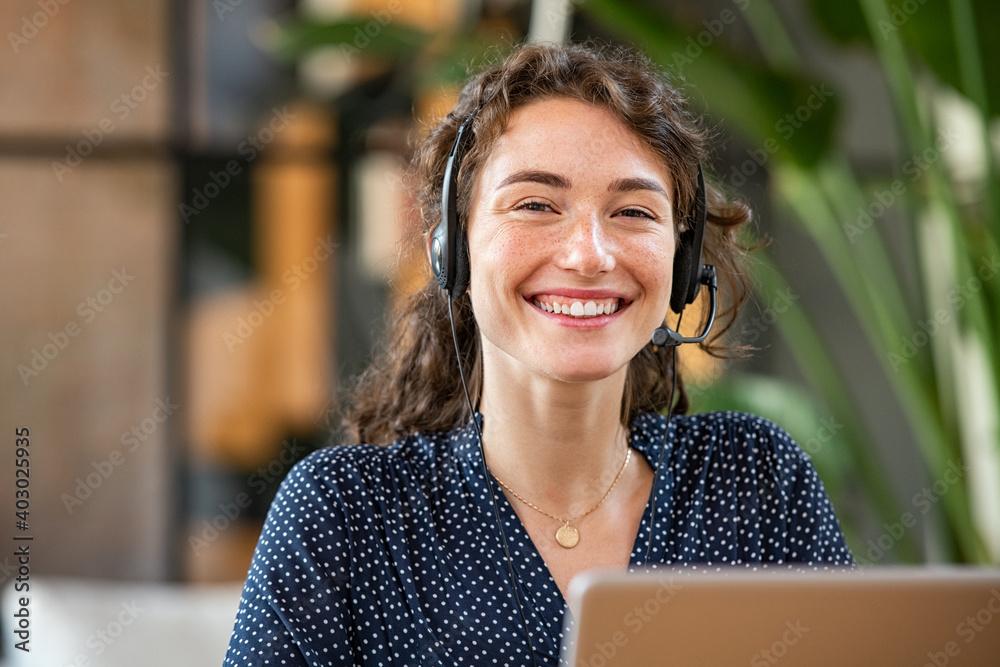 Fototapeta Successful customer service agent working at office