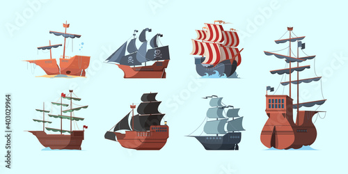Pirate boat. Old marine vessels pirate damaged ships with black flag vector set. Antique transport sailboat, carrier frigate, wooden pirate shipping illustration